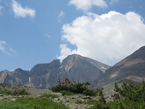 Looking back at the Long's Peak Massif from the trail on the way back down.