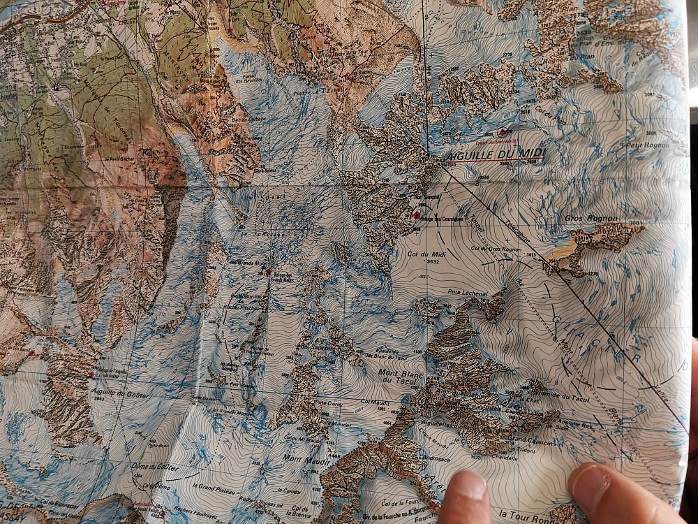 Den planlagde ruta vår ifrå Aiguille du Midi til Mont Blanc.