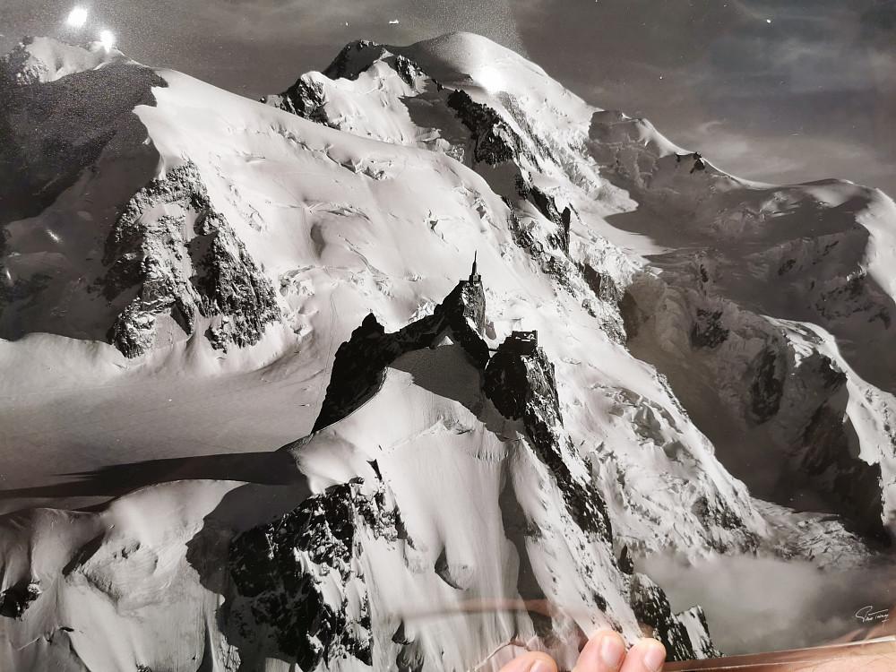 Den planlagte ruta ifrå Aiguille du Midi til Mont Blanc.