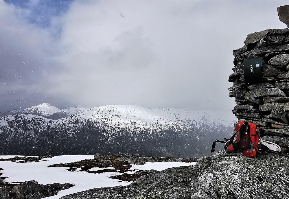 I frå toppvarden av Halvgjerda 856 m mot Eikåsnipa 826 og Førdsnipa 863 moh bakerst i bildet.