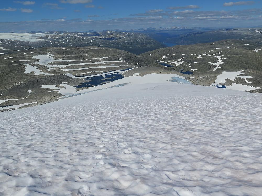 Snø og bre ryggen på Rivenoskulen 1943 moh Det som ser ut til å vere ein flat haug til venstre i bildet er Syrttbytnosi 1700 moh