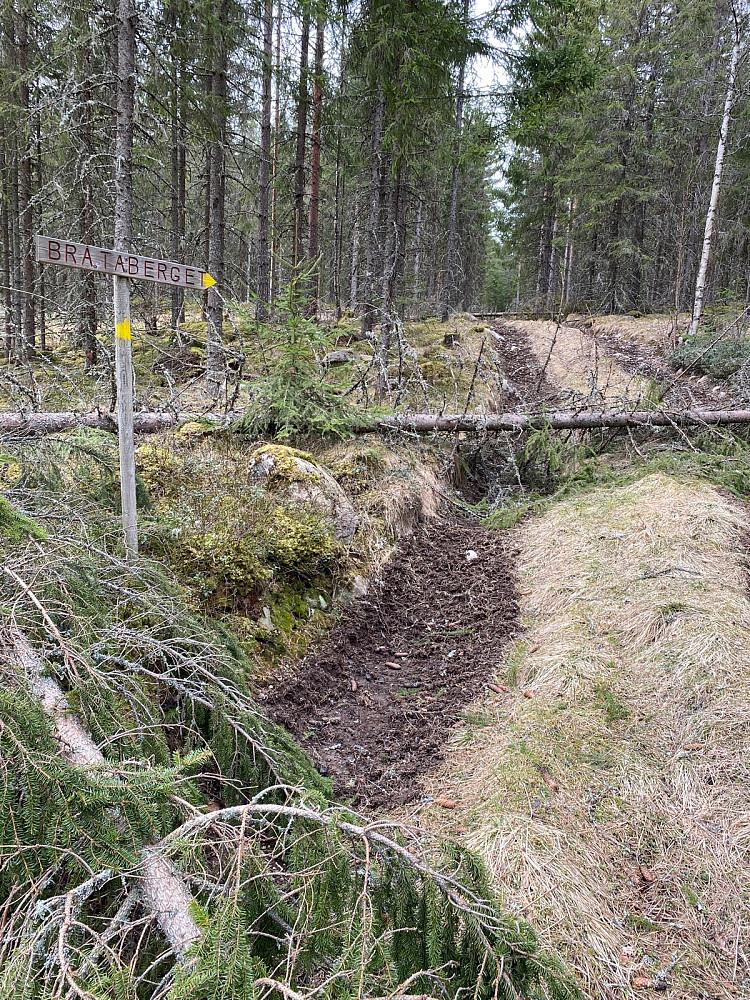 En del nedfall i starten her. Var skiltet flere steder mot Bråtaberget, en lavere topp som ligger nord for Lemberget. Men ingen skilt mot Lemberget som er høyest.