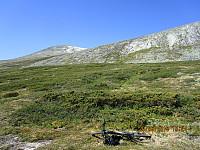 Da ble sykkelen parkert etter at jeg hadde passert et lastebil med overvåkningskameraer på taket rett ved første brua over Grønna, og turen gikk opp berget her mot neste topp