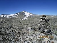 Toppen av Brunkollen med Snøhetta i bakgrunnen
