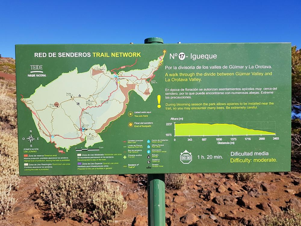 Her gikk det skiltet og merket tursti som sikkert er flott å følge ned i skogen