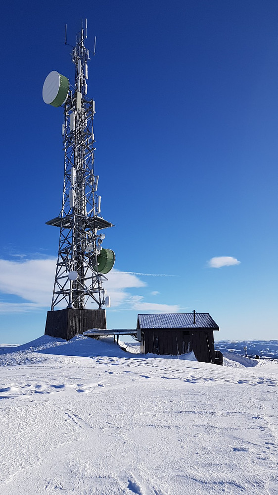 Det hang en del is og snø på antenna, så det var greit å ikke gå helt bort til den i dag