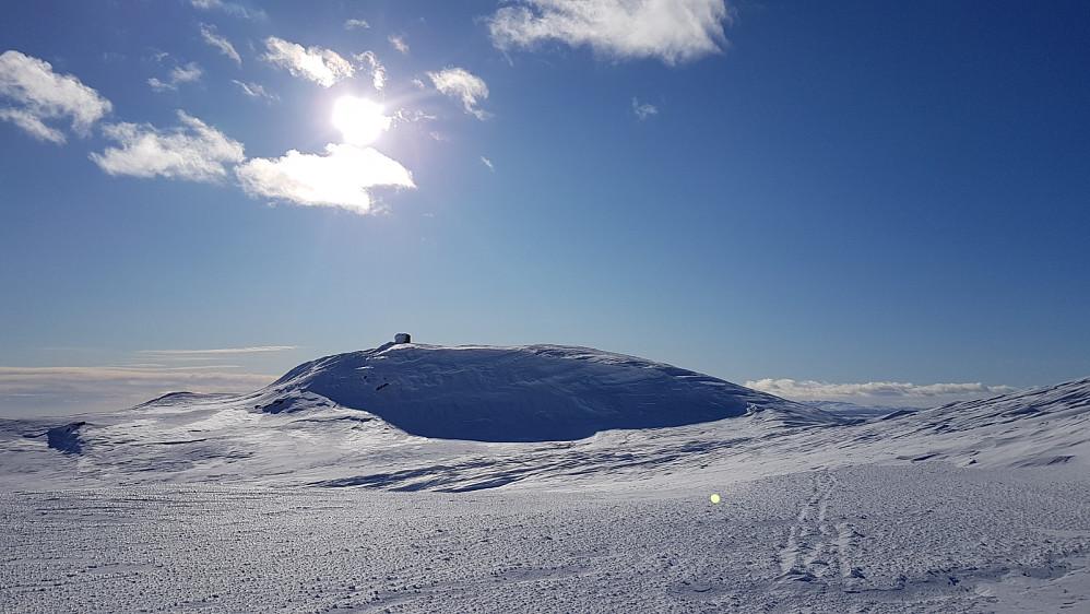Da var det kun toppkulen igjen før jeg var på toppen av Prestkampen. Det ble en pause og en matbit i le av varden