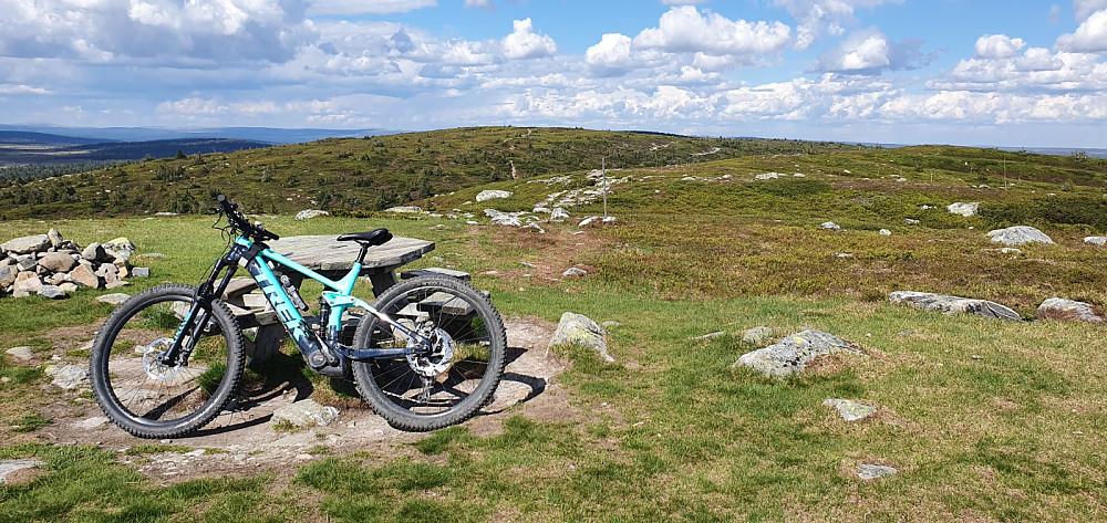 Toppen av Sollifjellet og mot Mostfjellet. Mye fin sykkelsti her