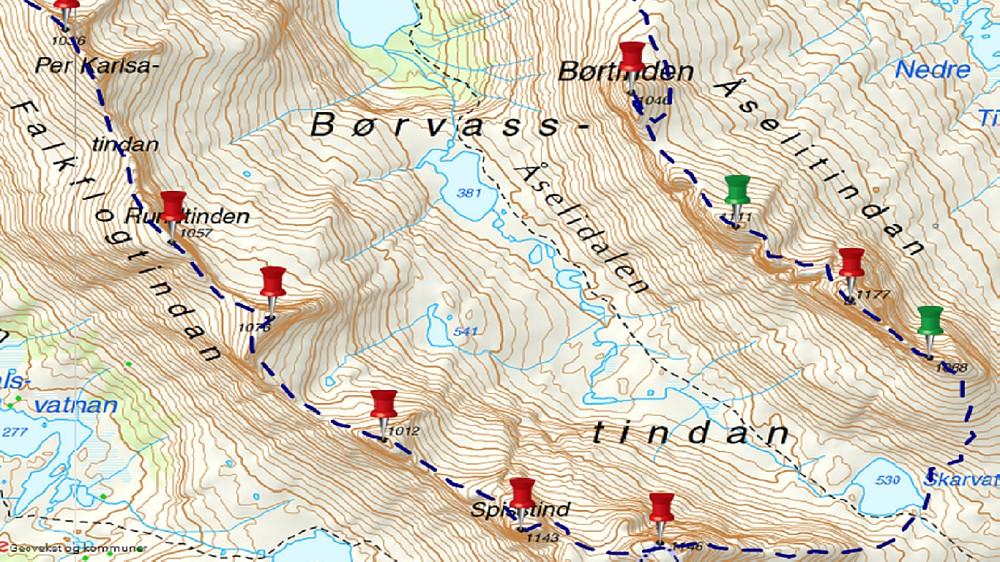 Ruten vår med start fra Per Karlsatind og slutt på Børtind