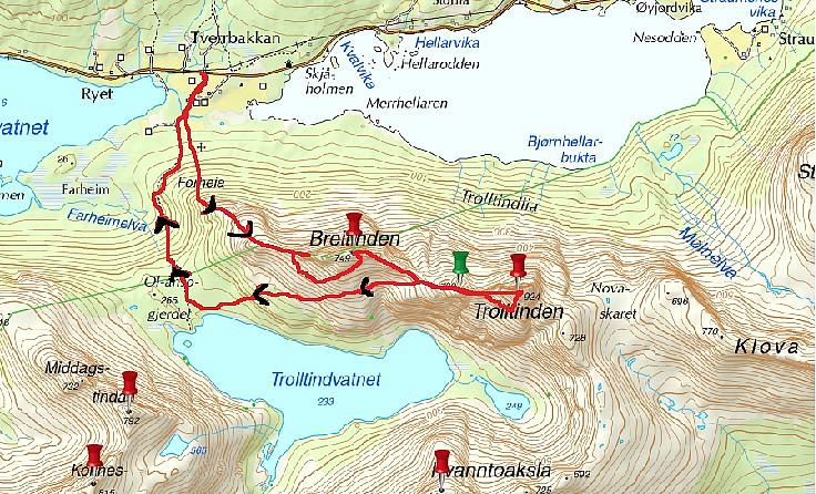 Inntegnet rute fra turen
