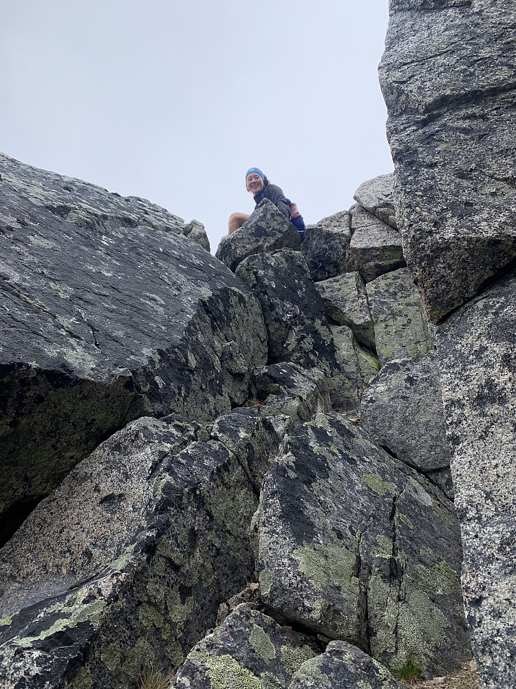 Last section of scrambling up to the Soria Moria fortopp