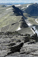 Strekningen Sagtinden-Bråkdalsbelgen som vi gikk i tåke og snø i mars i år.