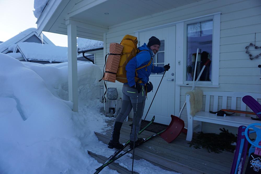 På ski helt fram til trappa!