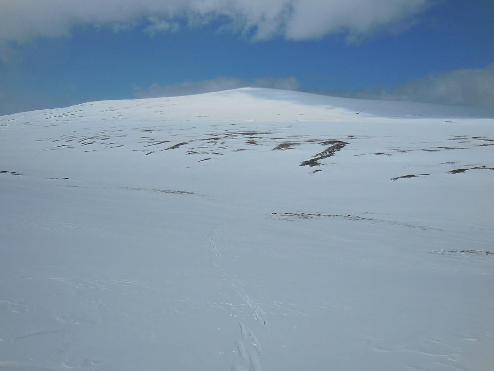 Tilbakeblikk mot Søre Skarvhøi fra oppstigningen mot Brattmannshøi.