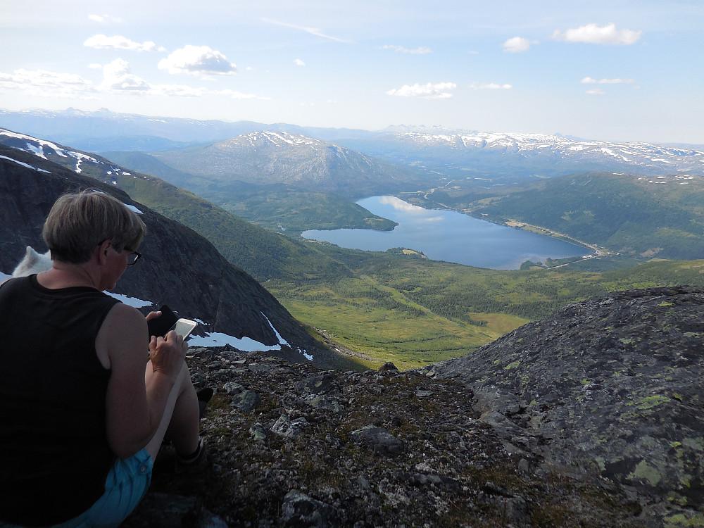 Utsikt vestover med Ømmervatnet nærmest og De Syv Søstre i horisonten.