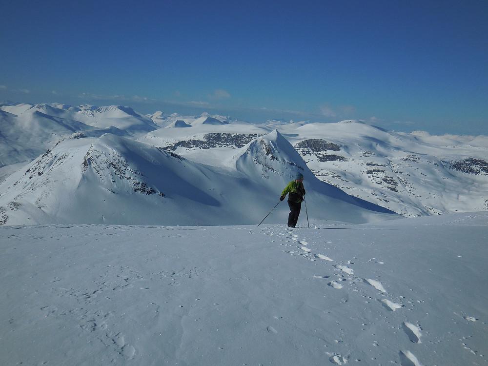 Morten på Tordsnose. I bakgrunnen ser vi Naushornets to topper og bak disse igjen Høgstolen med sin snøfrie sørvestvegg.