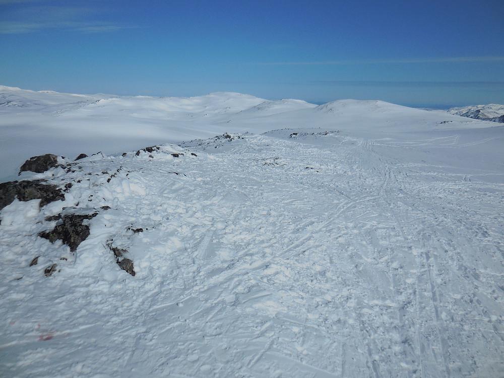 Fra Blåøret, 1605 moh. med Brattskarven midt på bildet og Snofjellets 2 topper litt til høyre.