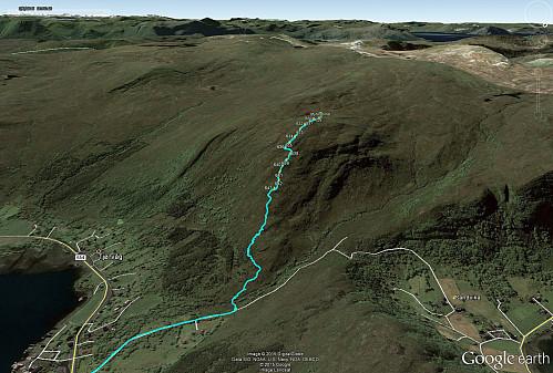 Ruten sett i Google Earth. Waypointene er stikker pr. i dag