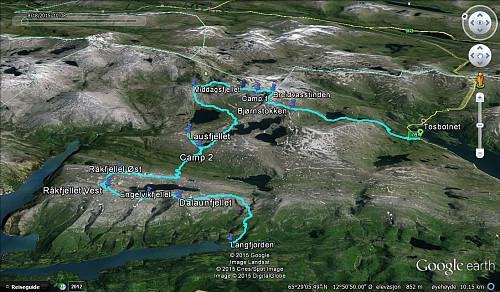 Vårt tredagers villmarkseventyr; 53,1km, 3500 høydemeter