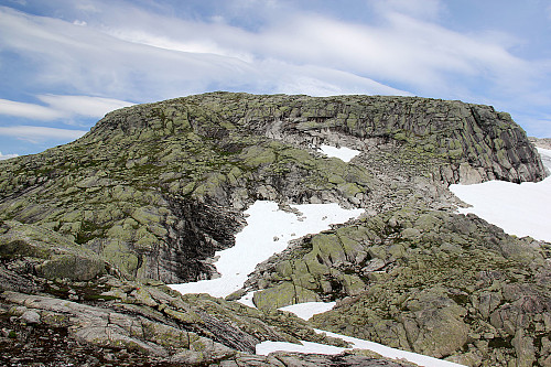 Bjørnabreen (dvs. snaufjell-delen) foran oss. Rampen kan tydelig sees