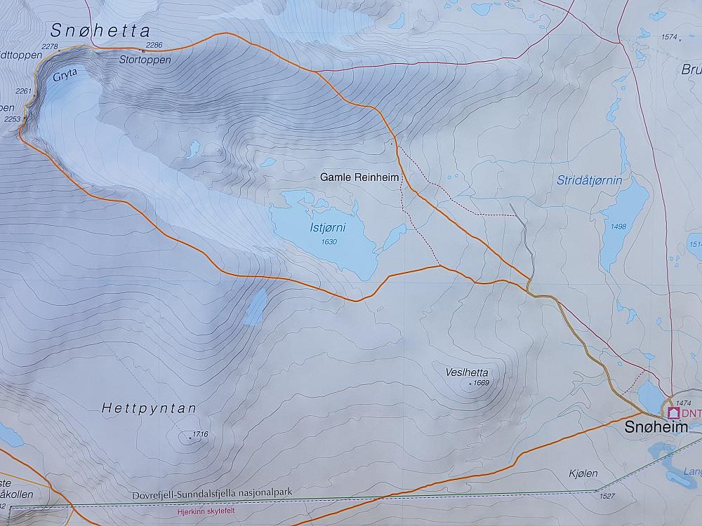 Bilde av kartet der ein ser kvar vi har gått.