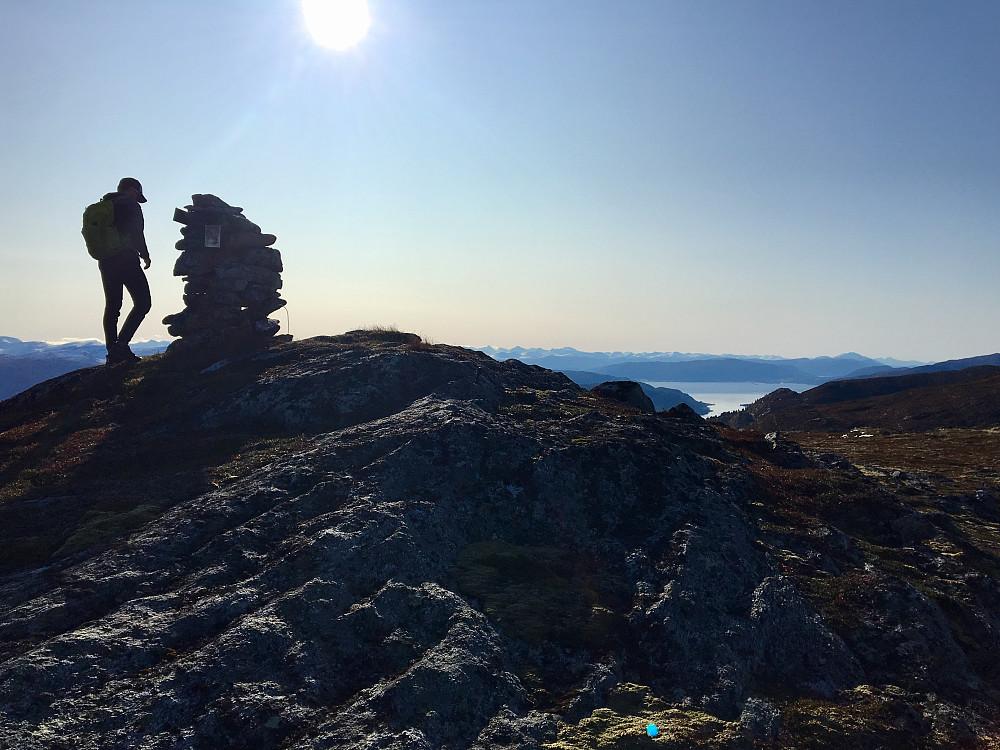 Frå varden på Skarven blei det flott utsyn over snødekte fjell og blåe fjorder.