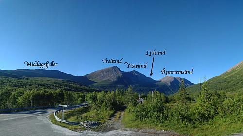 De fire fjellene som bestiges på denne turen sett fra Skorgedalen/Ørskogfjellet.