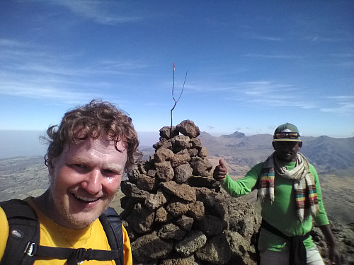 Image 1: Myself along with our Guide Tadlo on top of Mount Bwahit (4430 m.a.m.s.l.). The trek from Chenneck Camp is 4.9 km with a climb of 800 meters. It was done in 1 h 33 minutes.