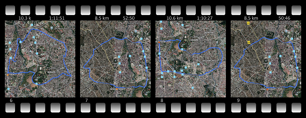 Running in Addis Ababa in preparation for the Simien Mountains. Notice how my performance improved between the first and last satellite images, from 55 min 15 sek to 50 min 46 sek on the same 8.5 km just 14 days later. ©Map data Endomondo/Google Maps.