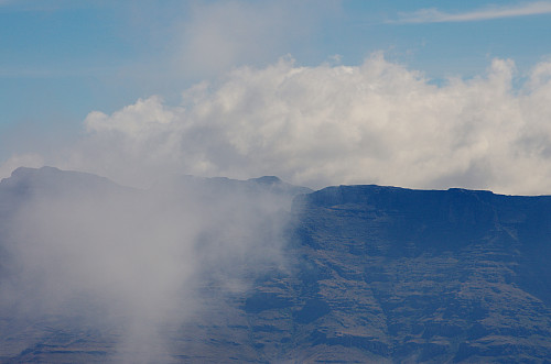 Image 13: Ras Dashen (4533 m.a.m.s.l.), Ethiopias highest mountain, as seen from Ras Bwahit, the third highetst. The summit of Ras Dashen is barely visible in the clouds.