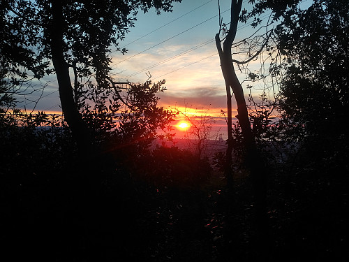 As I was approaching the summit of Mount Tibidabo, the sun was rising, seemingly from the Mediterranean Oscean in the east.