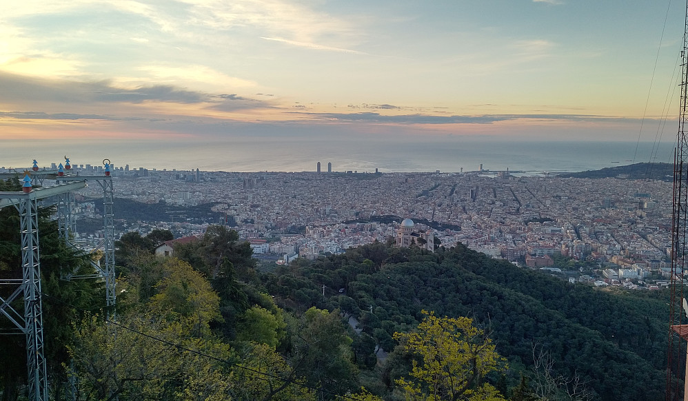 View of Barcelona from the mountain top.