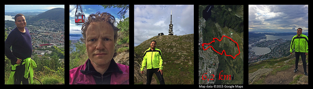 Me and my youngest son hiking on Mount Ulriken. Left image: My son with the stadium of the city's main football team Brann as well as Mount Løvstakken in the background. Second image: Me with the cable car of Mount Ulriken behind me. Third image: My son with the TV broadcasting antenna on Mount Ulriken. Second image from the right: Satellite image of the mountain side with the track of our hike superimposed on it [I don't actually have the track of this particular hike, I probably forgot to turn the Endomondo app on as we started hiking; and later used the track from another day to make this image, which I uploaded on Facebook the following day, as the hike follows a route that I have frequently used when hiking Mount Ulriken. Right image: My son with a view of the city of Bergen behind him.