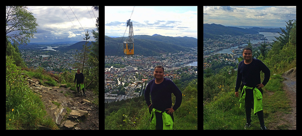 Some more images from this hike on Mount Ulriken: My youngest son with the city of Bergen in the background. On the middle image is seen even the cable car that you may take up to the main viewpoint of this Mountain.