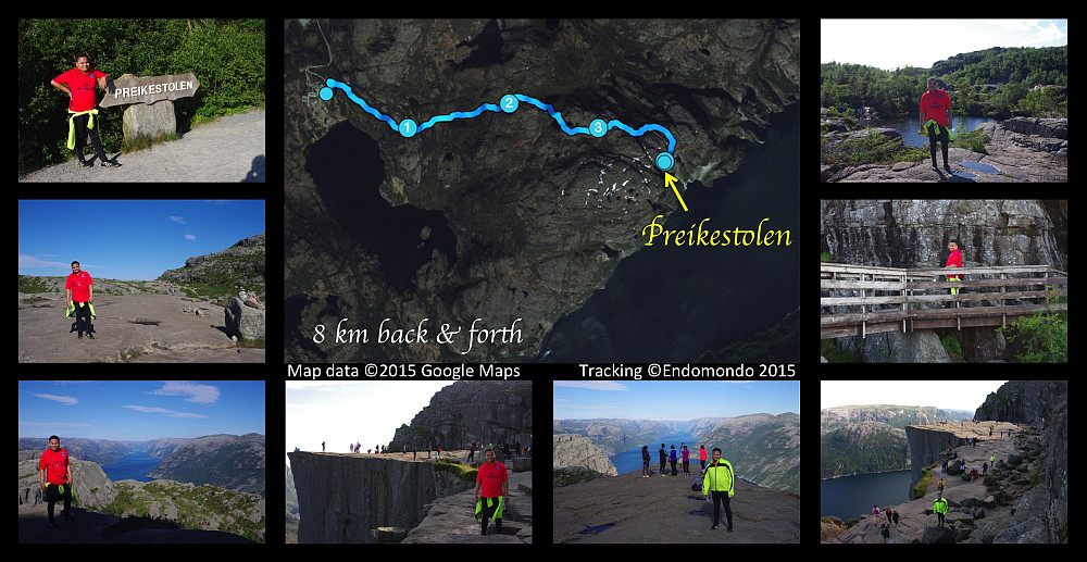 """Our trip to Preikestolen [i.e. """"The Pulpit Rock""""]. Upper left image: My son at a sign telling the way to the """"pulpit"""". The sign is located by the parking lot at the Pulpit Rock Tourist Center [Norwegian: Preikestolhytta], from whence you have to walk to the Pulpit Rock. Center image: Our GPS track from the trip. (I tracked the hike only in one direction, as we returned to the tourist center along the same path as we went to the """"pulpit"""". 8 km is, however, the distance back and forth along this path. Upper right image: My son by one of the small ponds that you pass as you're trekking towards Preikestolen. Middle left image: Part of the path towards the Pulpit Rock. Middle right image: A bridge facilitating the hike towards Preikestolen. Lower left image: Lysefjorden, the fjord beneath the Pulpit Rock. 2nd, 3rd and 4th lower images: From the Pulpit Rock itself."""