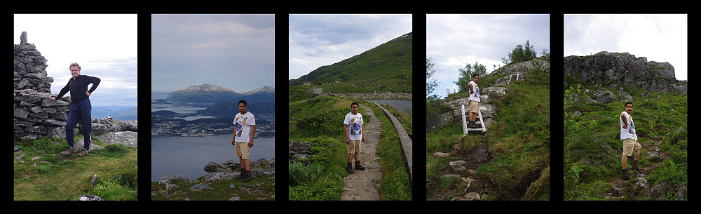 Some more images from this hike. Left image: Me on the summit of Mt. Sulafjellet. 2nd from left: My son on Grøthornet. 3rd from left: My son by Lake Molværvatnet. 4th image from the left: Climbing back up the mountainside after descending quite a bit down towards the village of Langevågen. Right image: Still hiking upwards toward the peak called Svanshornet.