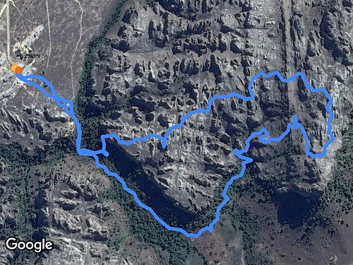 The GPS-track of this climb superimposed on a Google Maps satellite image. The upper line is the climb, and lower is the descent.