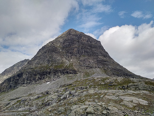Image #2: Mount Bispen as seen from the south side. Mount Kongen is barely visible behind it. The south face of Mount Bispen is quite steep, but possible to climb.