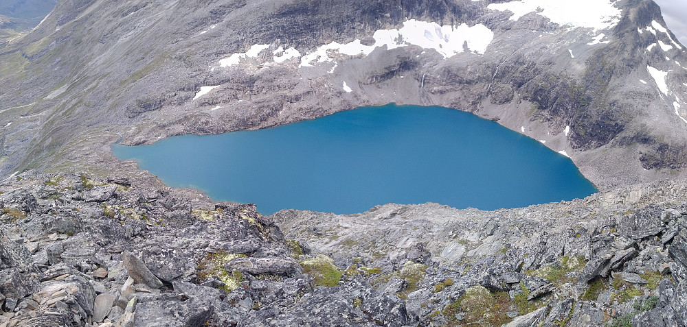 "Image #8: Panorama photo of Lake Bispevatnet (""The Bishop's Lake"") as it is seen from the south ridge of Mount Bispen."