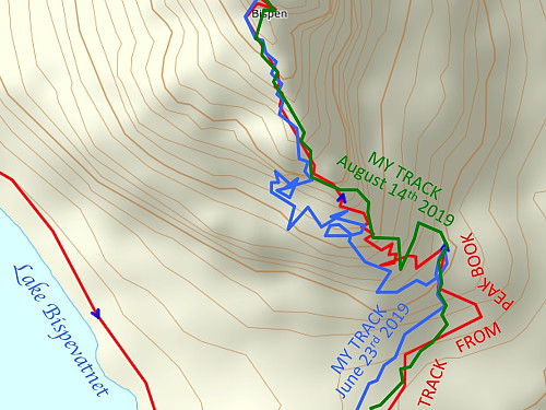 "Image #7: Comparing my track up the south ridge of ""The Bishop"" on this occasion (green line) with that of June 23rd (blue line). This time I somehow managed to stay closer to the path outlined by others here on Peakbook. And yes, the climb was perhaps a little bit easier, but not very much so."