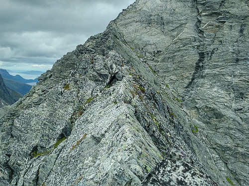 "Image #10: ""The Roof"", a roof-shaped isthmus that connects the south ridge of ""The Bishop"" with the main body of the mountain."