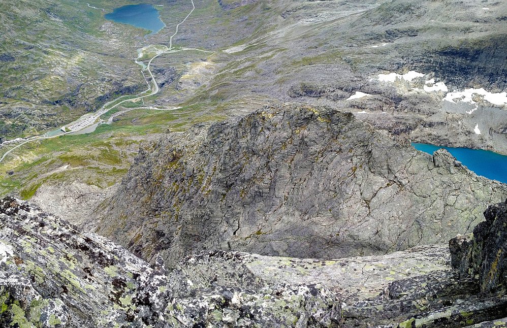"Image #11: Panorama of the south ridge of Mount Bispen, as seen from the summit plateau of the mountain. Lake Bispevatnet is partially seen behind the upper part of the ridge, i.e. the part usually referred to as ""The Roof""."