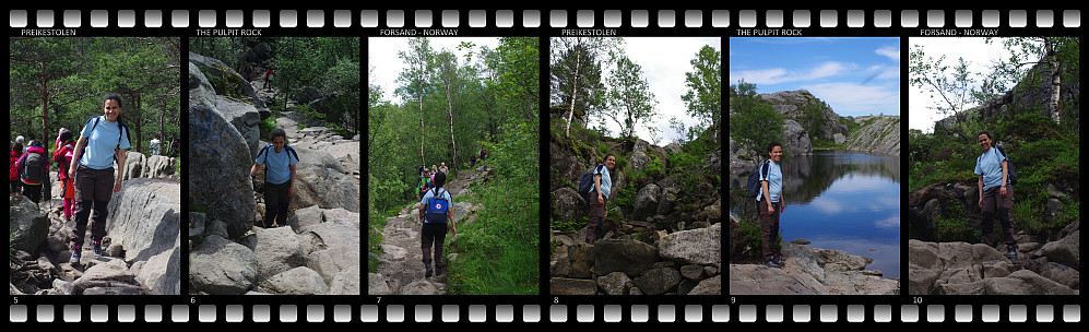 "Images #5-10: The trek to Preikestolen (Literally: ""The Pulpit"", but in reference to this mountain spot usually rendered ""The Pulpit Rock"")."