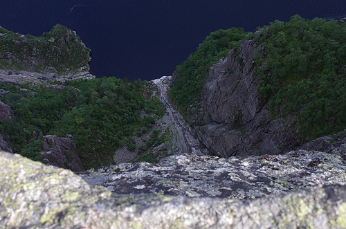 Image #17: Vertical view from the Pulpit Rock towards the fjord beneath.