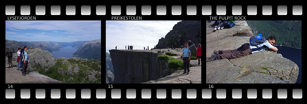 Image #14: View towards Lysebotn, in the eastern end of the fjord Lysefjorden. Image #15: At the Pulpit Rock. Image #16: Lying down on the Pulpit Rock, so as to admire the vertical view that you get (see images #17 and #18).
