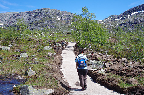 Image #5: The track towards The Troll's Tongue. The route goes through the pass between Mount Hettanuten (1304 m.a.m.s.l.) to the left and Mount Grytenuten (1219 m.a.m.s.l) to the right.