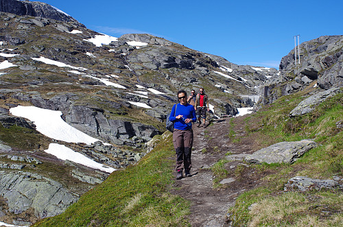 """Image #9: The track is quite nice most of the way to the Troll's Tongue. Here from the last part of the trek towards the """"tongue"""". The river with the dam is Endaåna."""