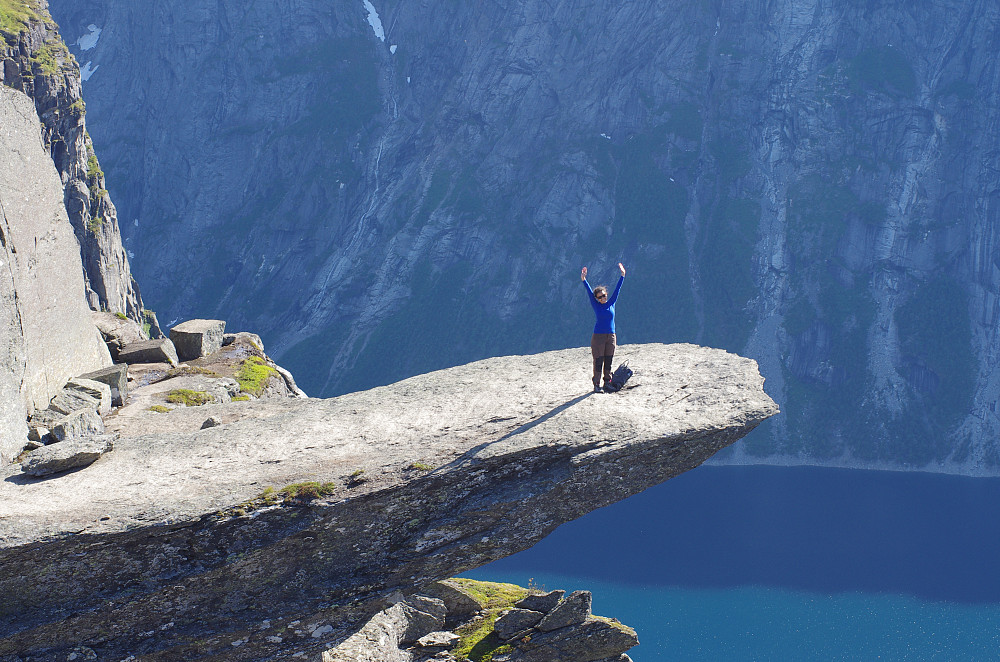 """Image #11: Finally on the """"Troll's Tongue."""" Lake Ringedalsvatnet in the background."""