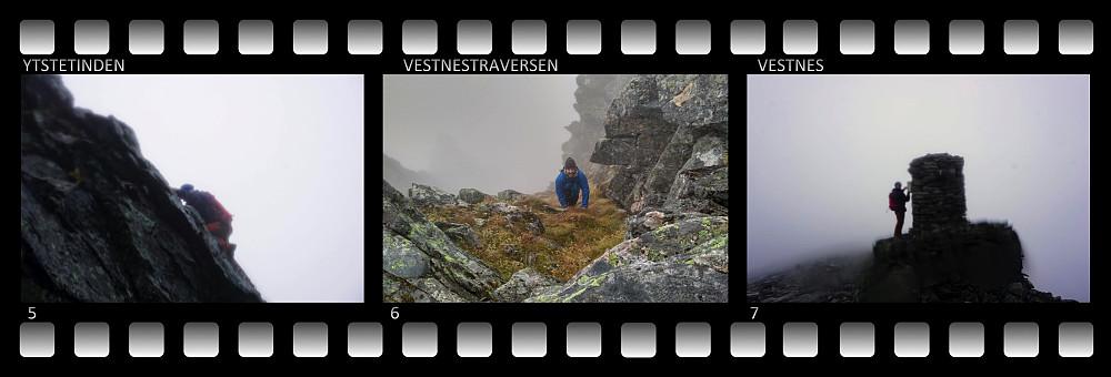 #5 og #6: Klyving oppover østryggen av Ytstetinden. #7: Ved varden på toppen av Ytstetinden.