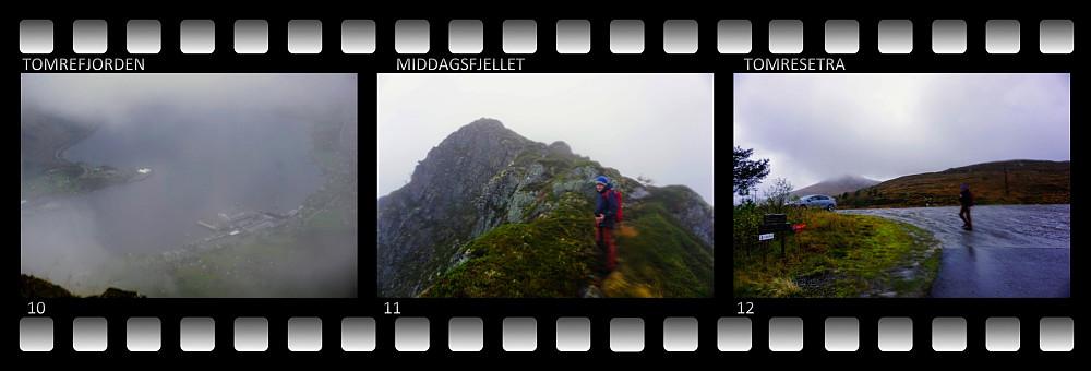 #10: Utsikt mot Tomrefjorden gjennom skydekket. #11: På vei opp på Middagsfjellet. #12: Endelig nede ved Tomresætra, hvor vi hadde den ene bilen stående.